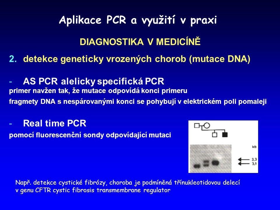 Aplikace PCR a využití v praxi DIAGNOSTIKA V MEDICÍNĚ