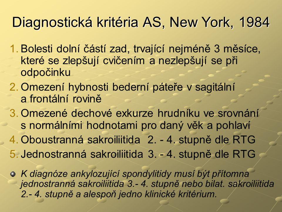 Diagnostická kritéria AS, New York, 1984