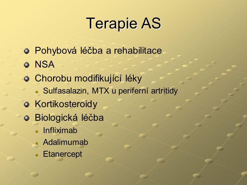 Terapie AS Pohybová léčba a rehabilitace NSA Chorobu modifikující léky