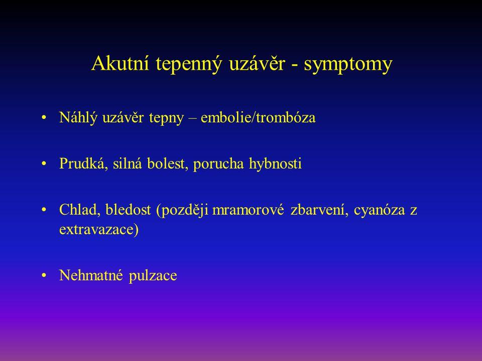 Akutní tepenný uzávěr - symptomy