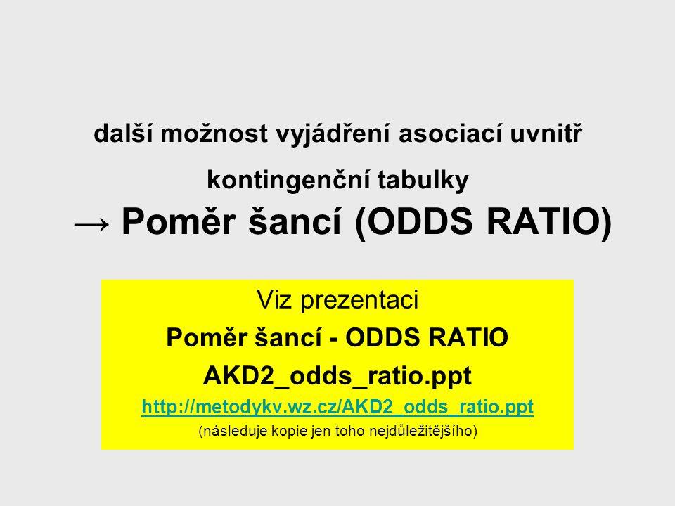 Poměr šancí - ODDS RATIO