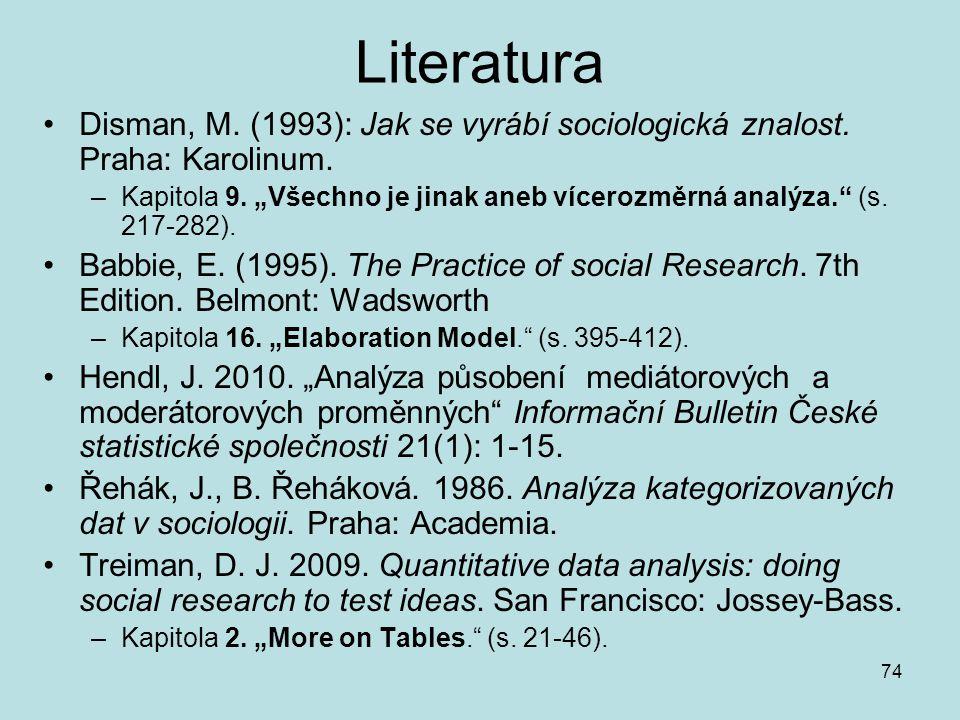 Literatura Disman, M. (1993): Jak se vyrábí sociologická znalost. Praha: Karolinum.