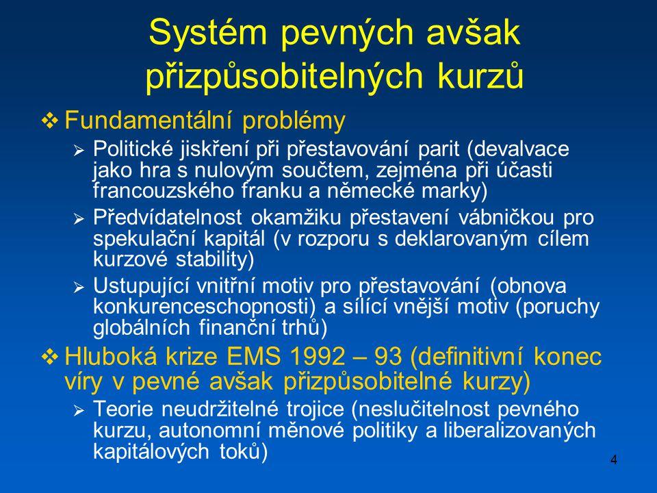 Systém pevných avšak přizpůsobitelných kurzů