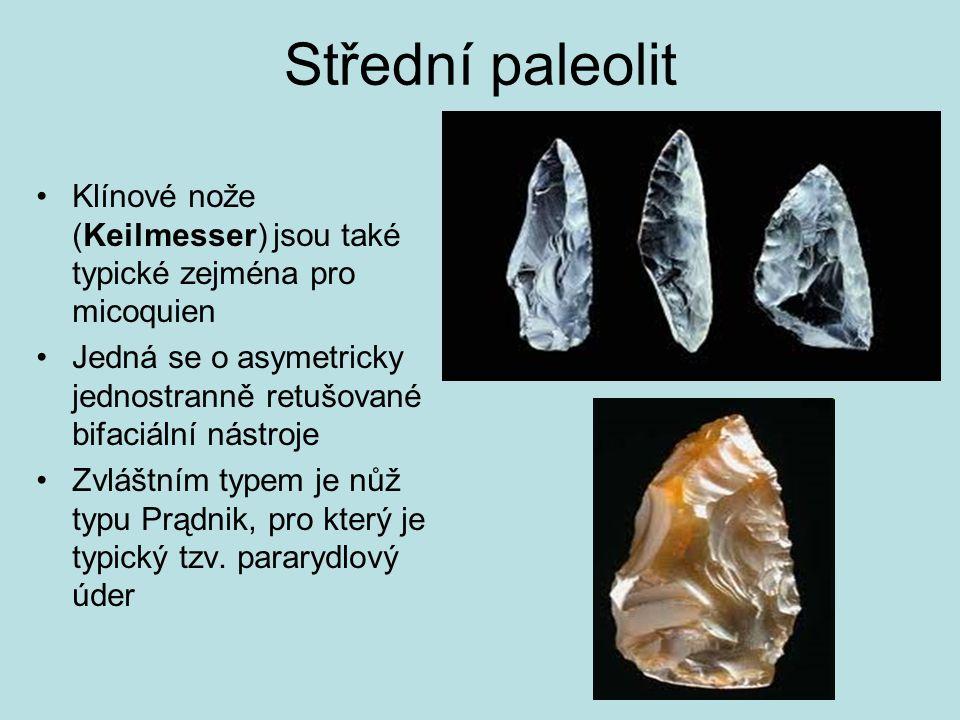 Střední paleolit Klínové nože (Keilmesser) jsou také typické zejména pro micoquien.