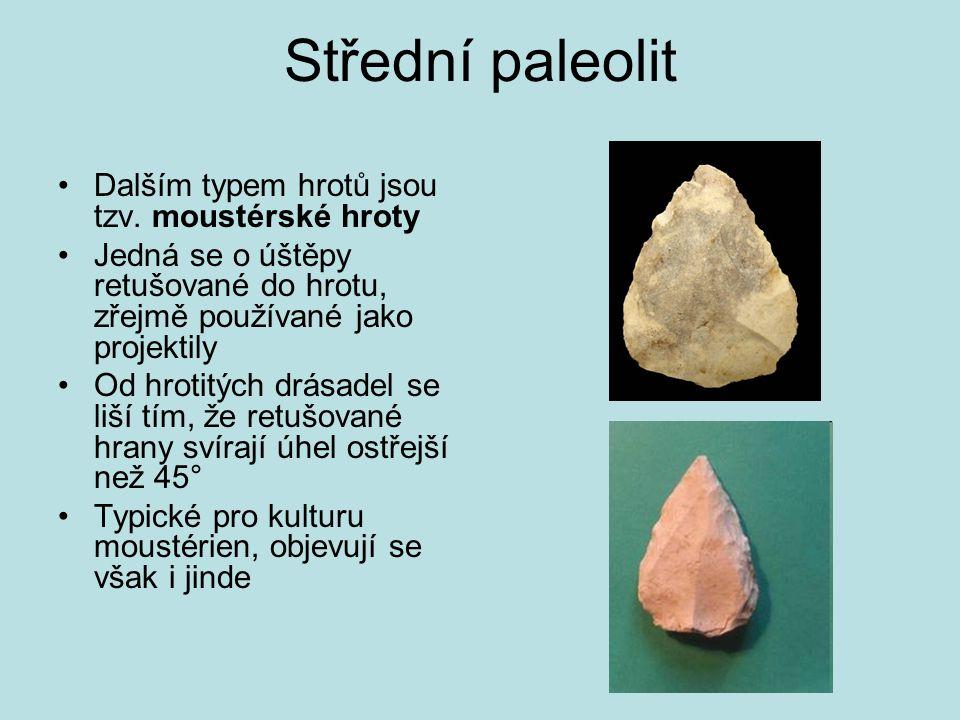 Střední paleolit Dalším typem hrotů jsou tzv. moustérské hroty