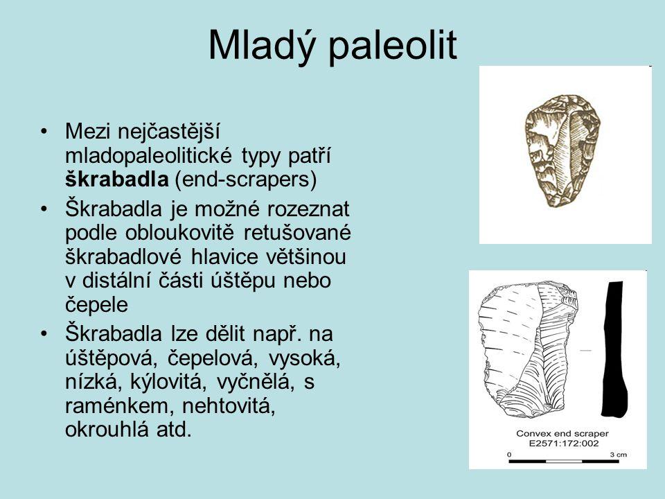 Mladý paleolit Mezi nejčastější mladopaleolitické typy patří škrabadla (end-scrapers)