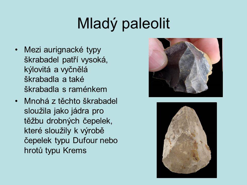 Mladý paleolit Mezi aurignacké typy škrabadel patří vysoká, kýlovitá a vyčnělá škrabadla a také škrabadla s raménkem.
