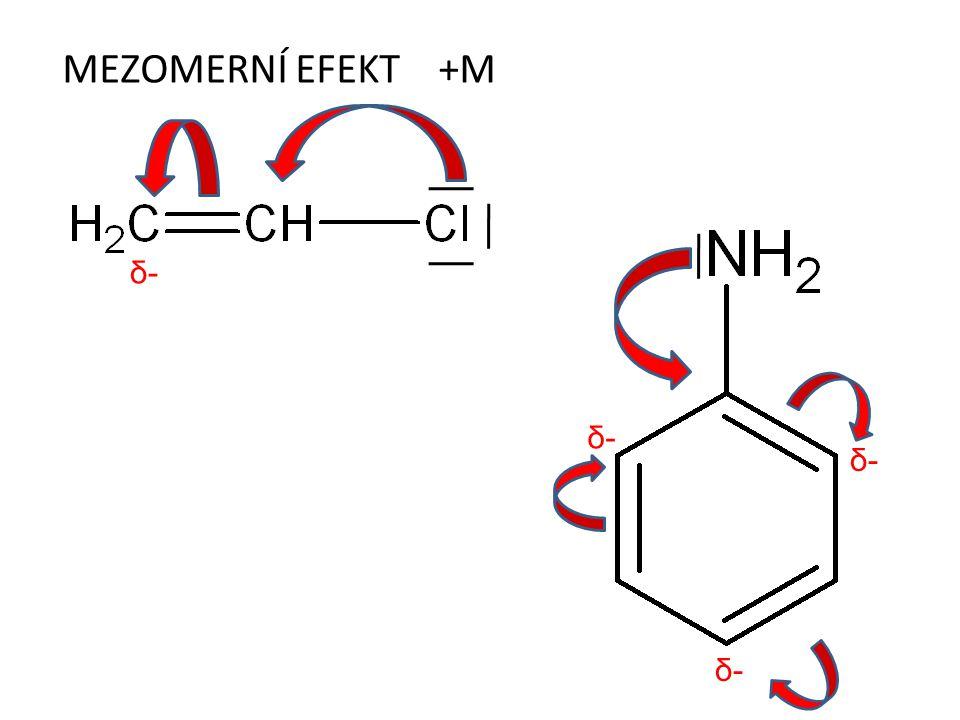 MEZOMERNÍ EFEKT +M δ- δ- δ- δ-