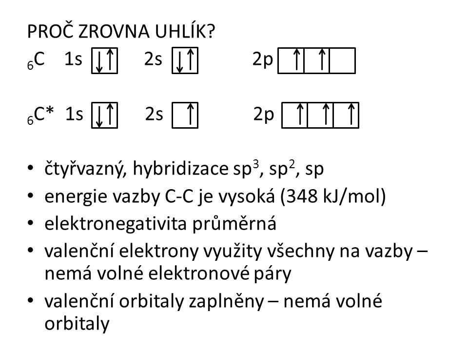 PROČ ZROVNA UHLÍK 6C 1s 2s 2p. 6C* 1s 2s 2p.