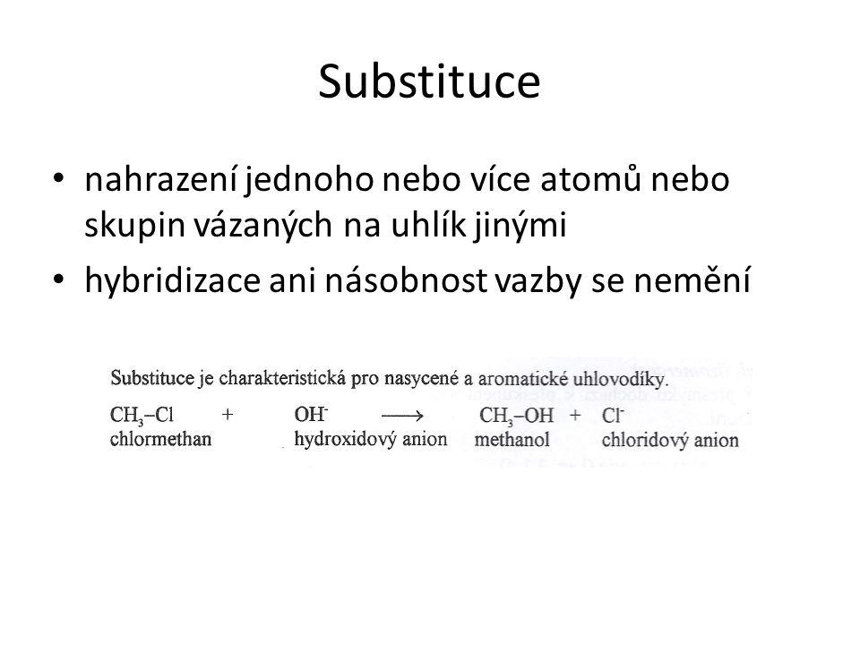 Substituce nahrazení jednoho nebo více atomů nebo skupin vázaných na uhlík jinými.