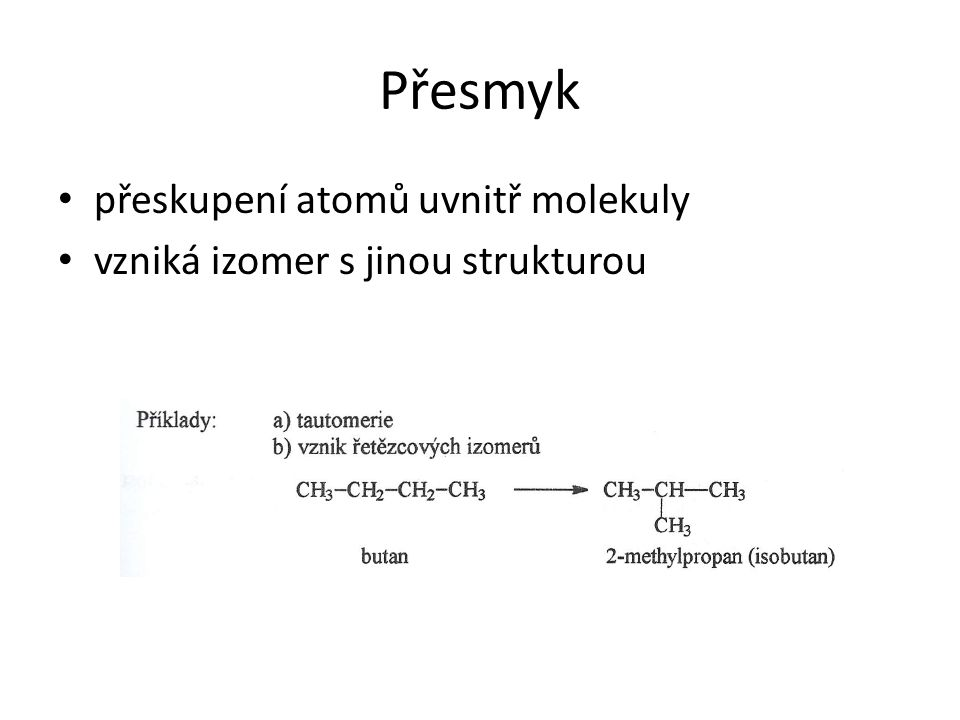Přesmyk přeskupení atomů uvnitř molekuly