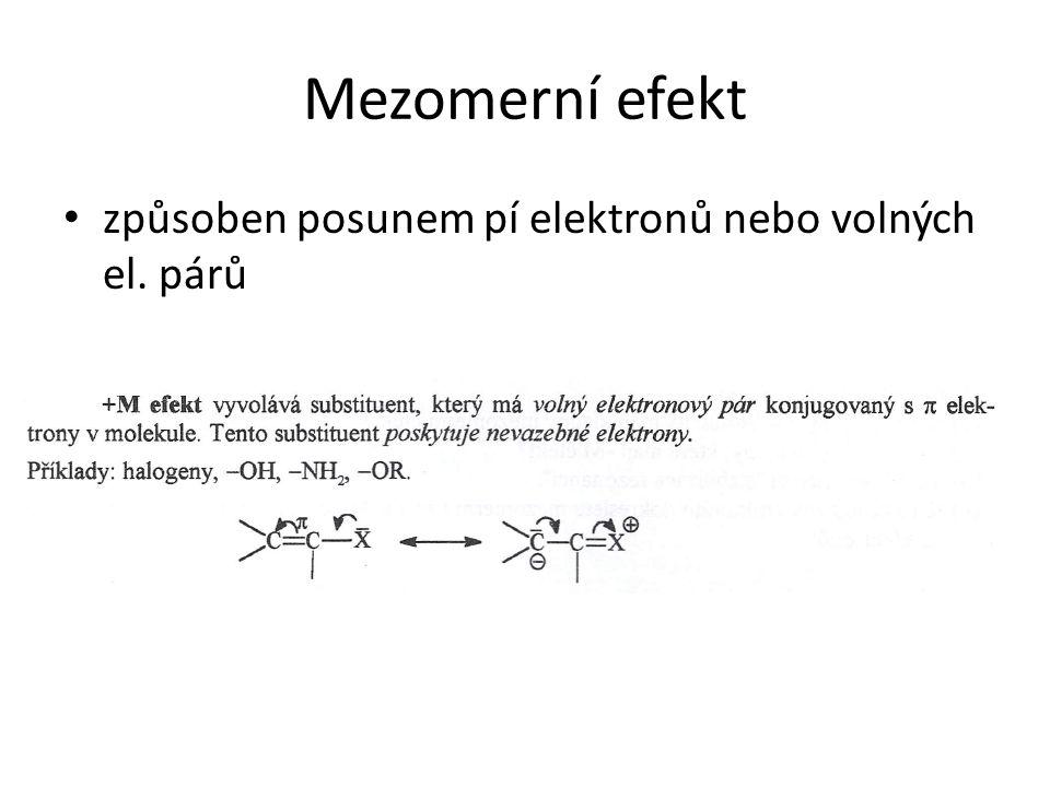 Mezomerní efekt způsoben posunem pí elektronů nebo volných el. párů
