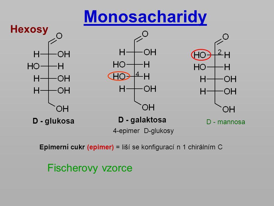 Monosacharidy Hexosy Fischerovy vzorce D - galaktosa D - glukosa 2 4