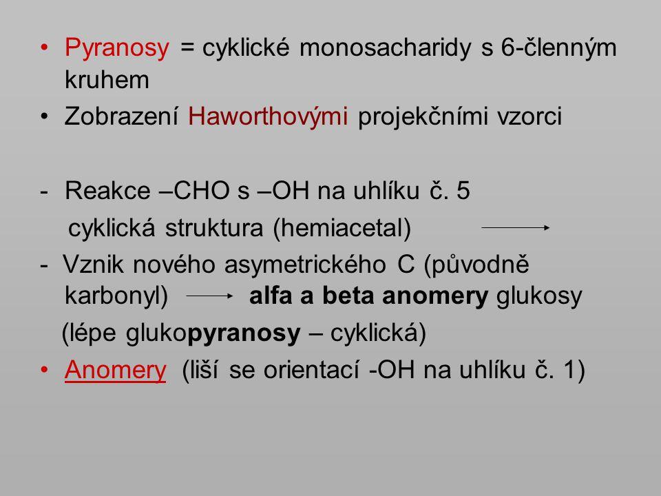 Pyranosy = cyklické monosacharidy s 6-členným kruhem