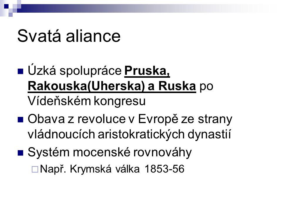 Svatá aliance Úzká spolupráce Pruska, Rakouska(Uherska) a Ruska po Vídeňském kongresu.