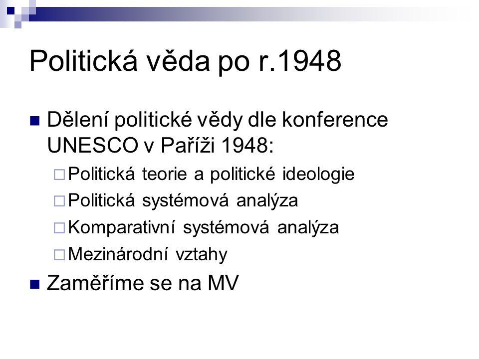 Politická věda po r.1948 Dělení politické vědy dle konference UNESCO v Paříži 1948: Politická teorie a politické ideologie.