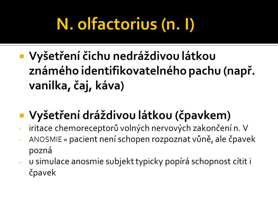 N. olfactorius (n. I) Vyšetření čichu nedráždivou látkou známého identifikovatelného pachu (např. vanilka, čaj, káva)
