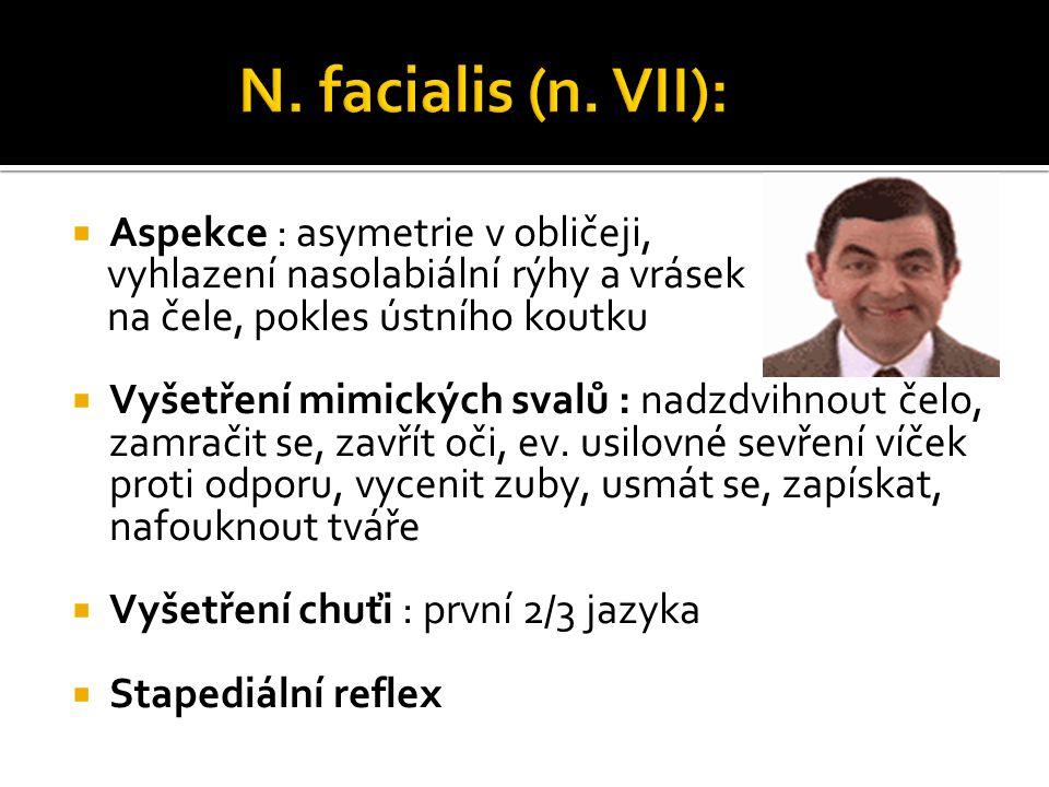 N. facialis (n. VII): Aspekce : asymetrie v obličeji,