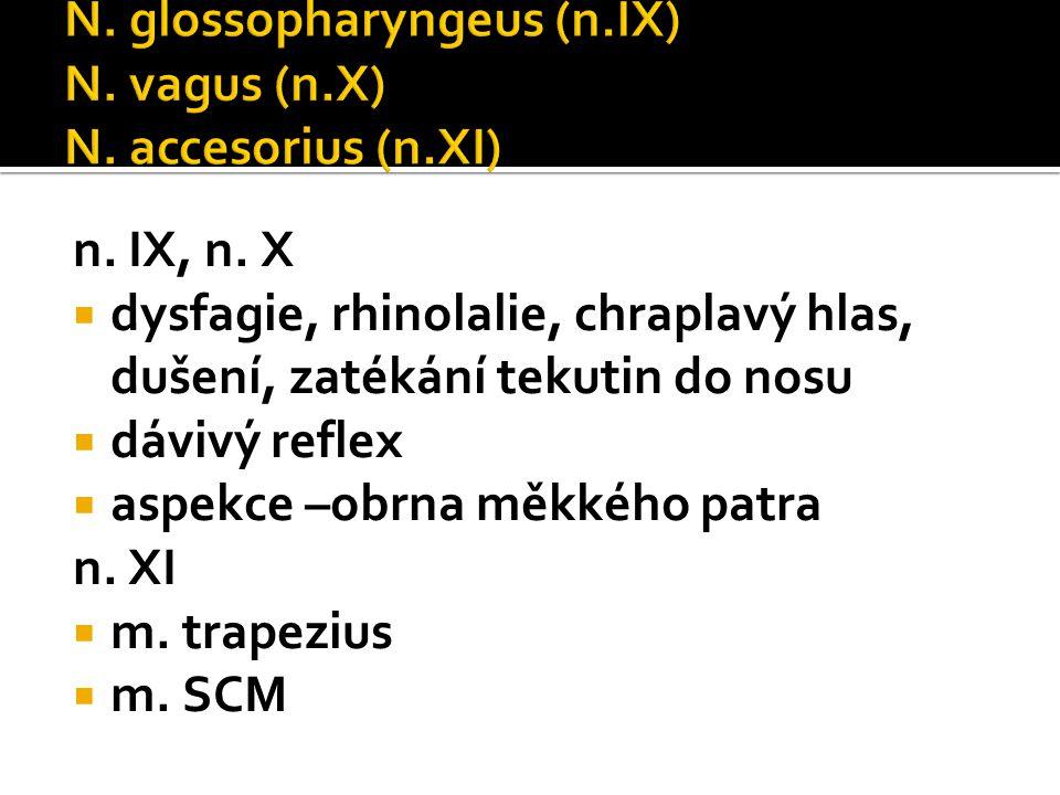 N. glossopharyngeus (n.IX) N. vagus (n.X) N. accesorius (n.XI)