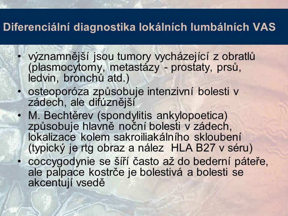 Diferenciální diagnostika lokálních lumbálních VAS