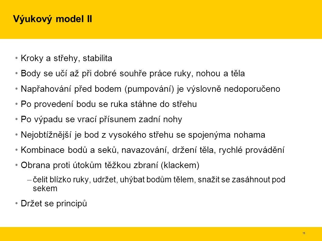 Výukový model II Kroky a střehy, stabilita