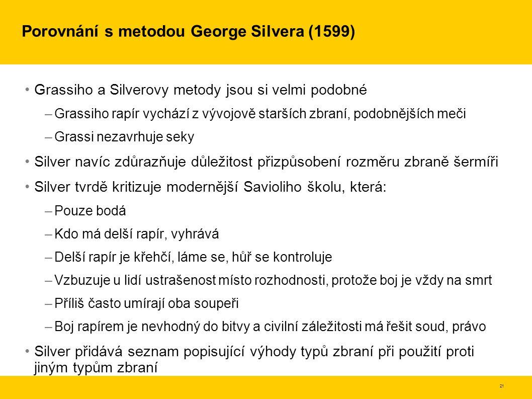 Porovnání s metodou George Silvera (1599)