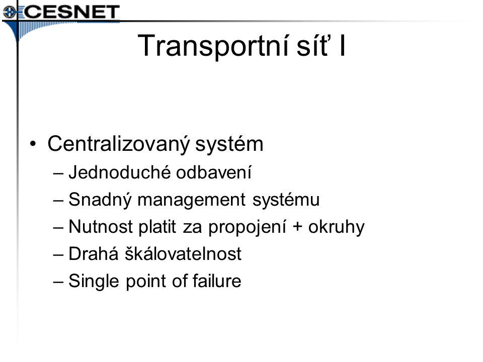 Transportní síť I Centralizovaný systém Jednoduché odbavení
