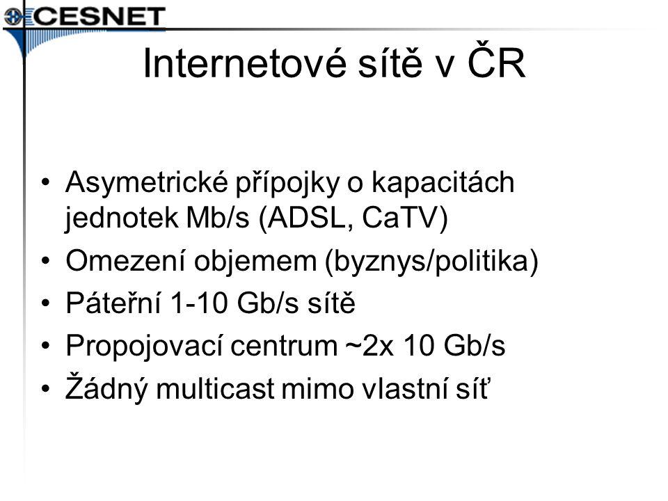 Internetové sítě v ČR Asymetrické přípojky o kapacitách jednotek Mb/s (ADSL, CaTV) Omezení objemem (byznys/politika)