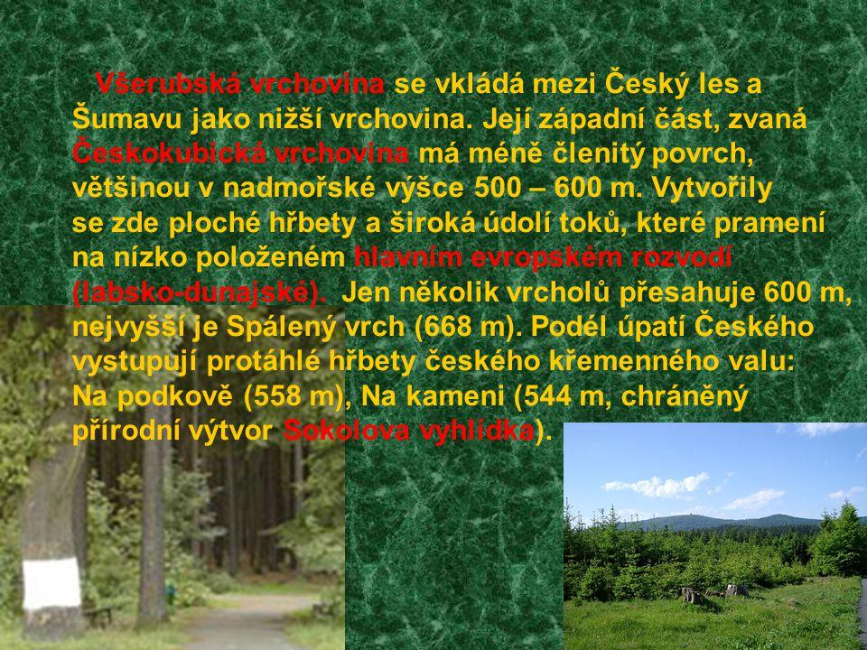 Všerubská vrchovina se vkládá mezi Český les a