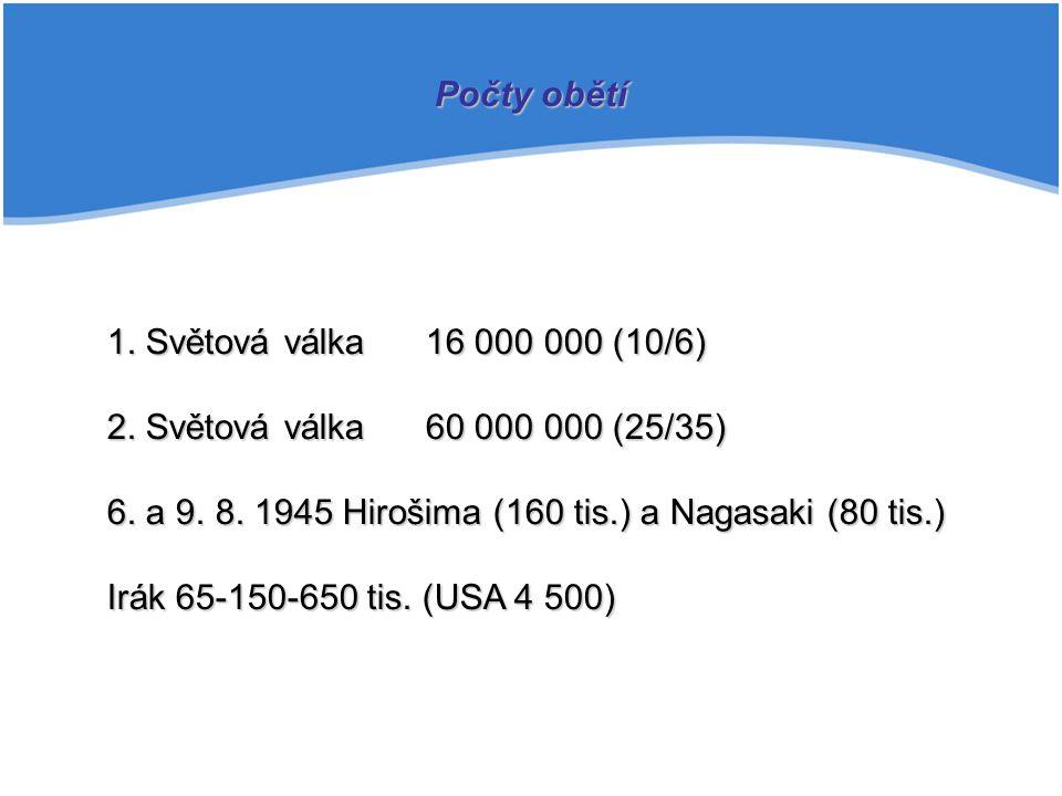 Počty obětí 1. Světová válka 16 000 000 (10/6) 2. Světová válka 60 000 000 (25/35) 6. a 9. 8. 1945 Hirošima (160 tis.) a Nagasaki (80 tis.)