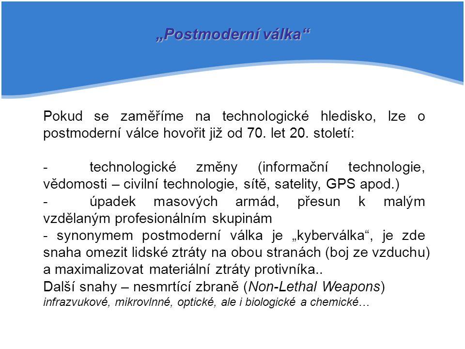 """""""Postmoderní válka Pokud se zaměříme na technologické hledisko, lze o postmoderní válce hovořit již od 70. let 20. století:"""