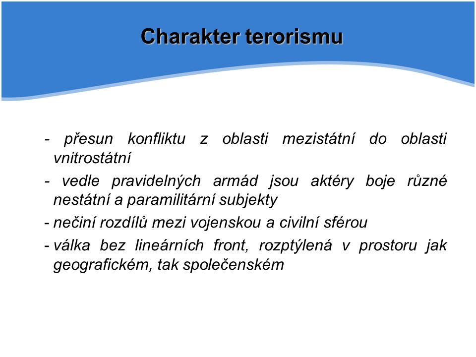 Charakter terorismu - přesun konfliktu z oblasti mezistátní do oblasti vnitrostátní.