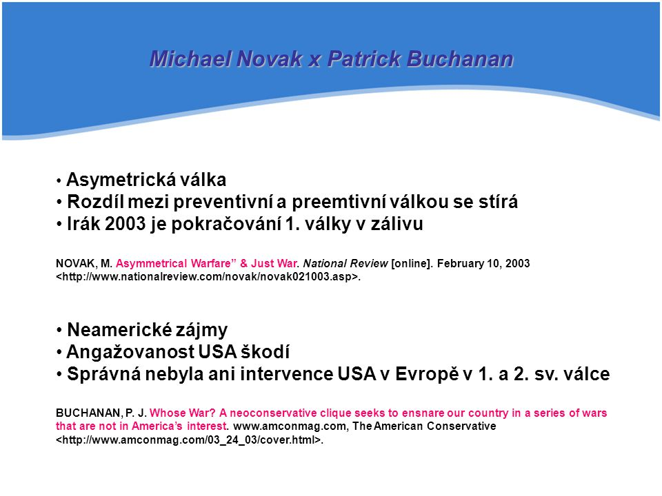 Michael Novak x Patrick Buchanan