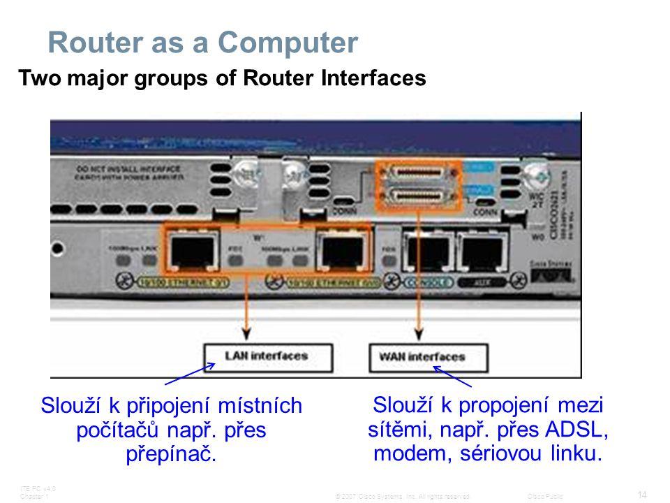 Slouží k připojení místních počítačů např. přes přepínač.