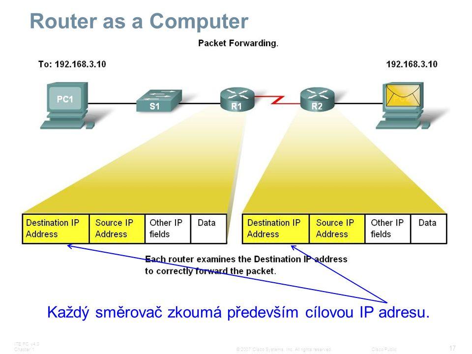 Každý směrovač zkoumá především cílovou IP adresu.