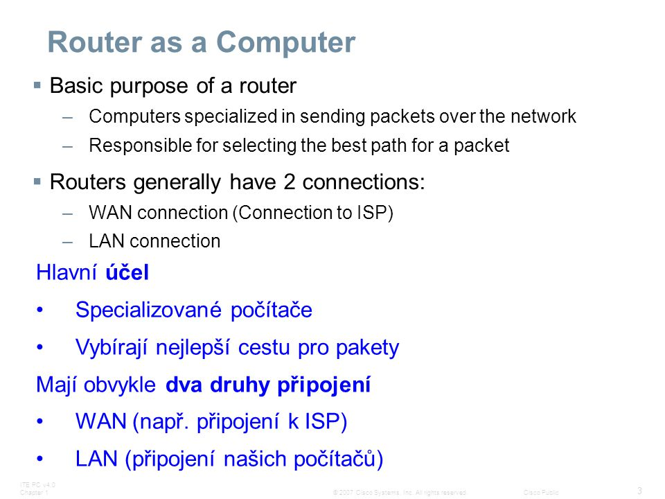 Router as a Computer Basic purpose of a router