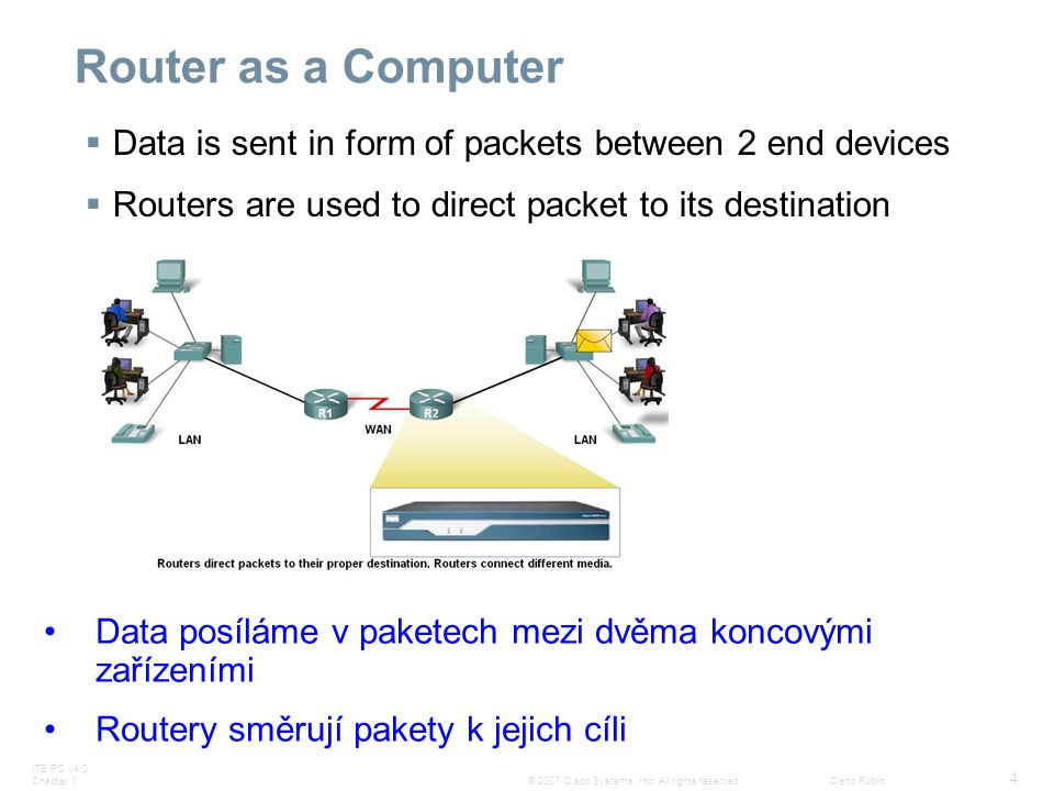 Router as a Computer Data is sent in form of packets between 2 end devices. Routers are used to direct packet to its destination.