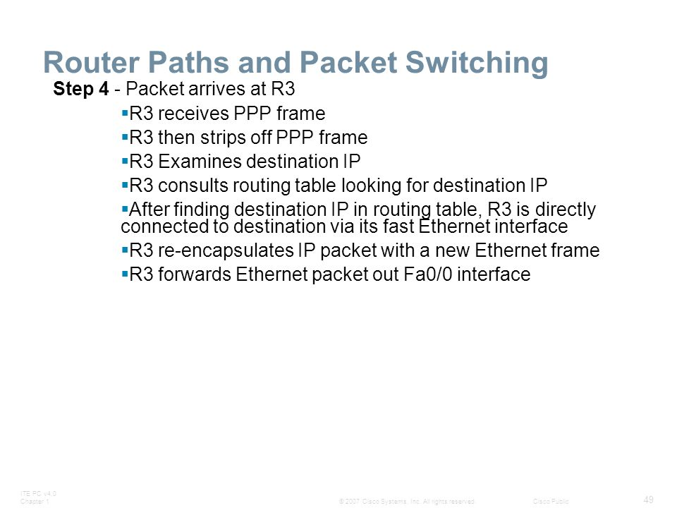 Router Paths and Packet Switching
