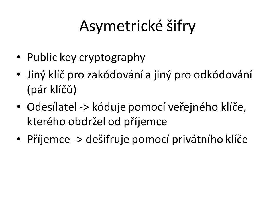 Asymetrické šifry Public key cryptography