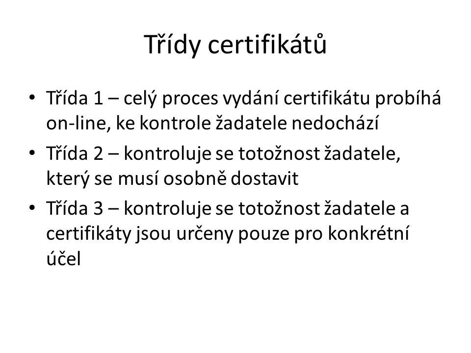 Třídy certifikátů Třída 1 – celý proces vydání certifikátu probíhá on-line, ke kontrole žadatele nedochází.