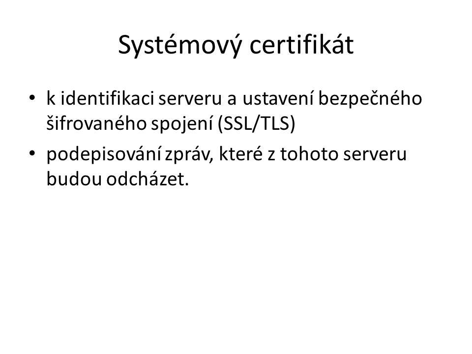 Systémový certifikát k identifikaci serveru a ustavení bezpečného šifrovaného spojení (SSL/TLS)