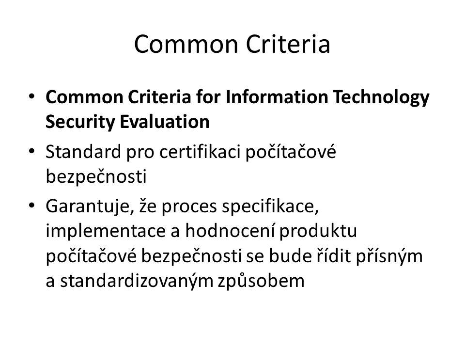 Common Criteria Common Criteria for Information Technology Security Evaluation. Standard pro certifikaci počítačové bezpečnosti.