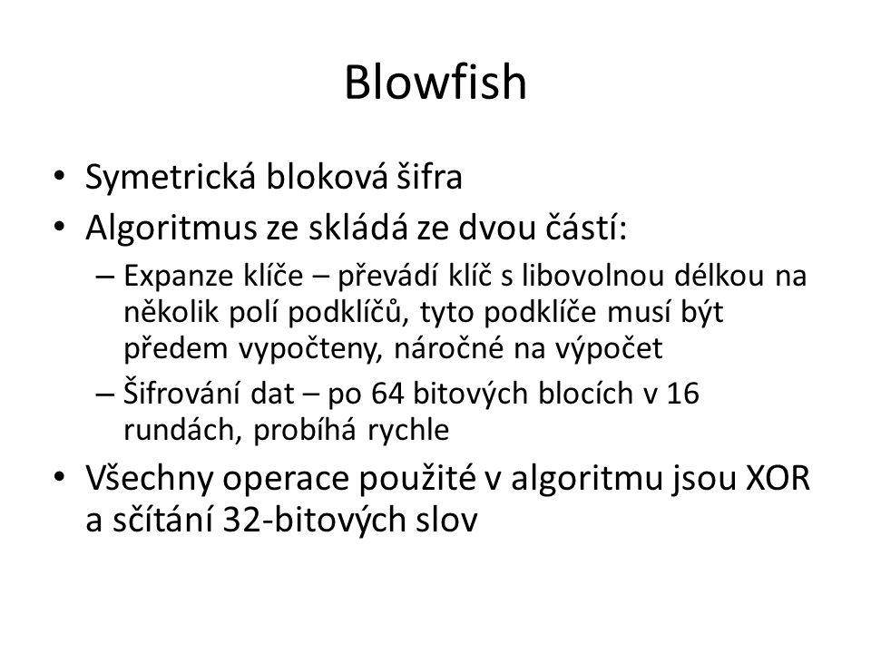 Blowfish Symetrická bloková šifra Algoritmus ze skládá ze dvou částí:
