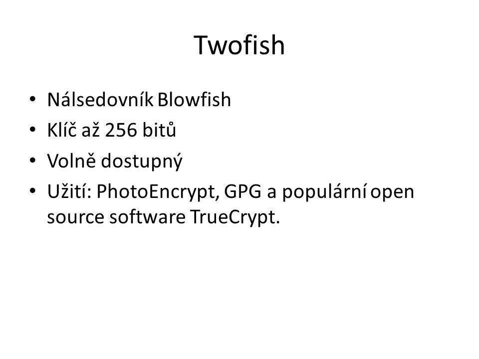 Twofish Nálsedovník Blowfish Klíč až 256 bitů Volně dostupný