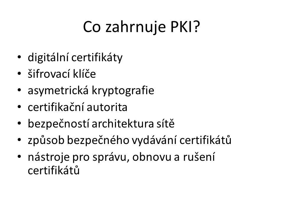 Co zahrnuje PKI digitální certifikáty šifrovací klíče