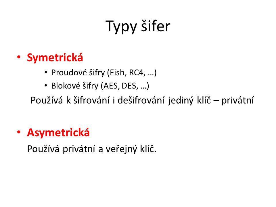 Typy šifer Symetrická Asymetrická