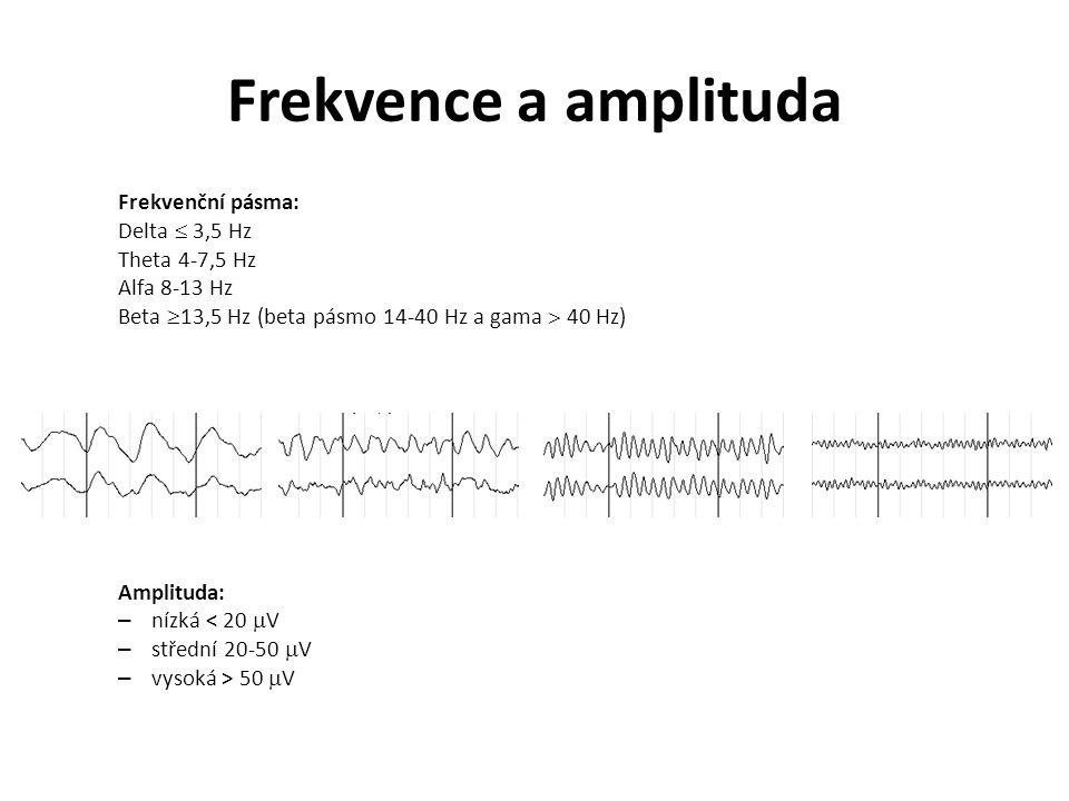 Frekvence a amplituda Frekvenční pásma: Delta  3,5 Hz Theta 4-7,5 Hz