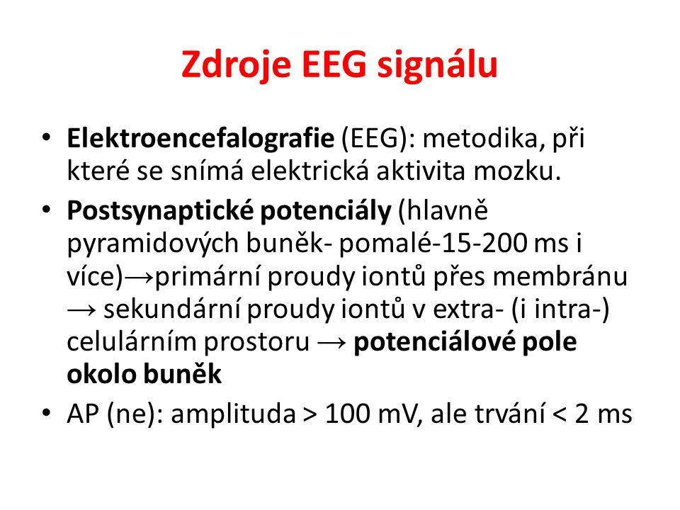 Zdroje EEG signálu Elektroencefalografie (EEG): metodika, při které se snímá elektrická aktivita mozku.