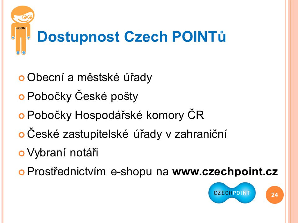 Dostupnost Czech POINTů
