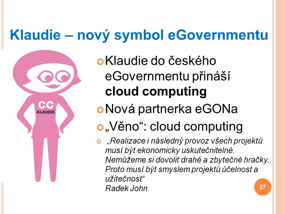 Klaudie – nový symbol eGovernmentu